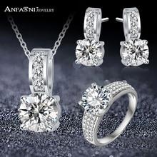 ANFASNI Fashion Women Jewelry Set With Cubic Zircon Silver C
