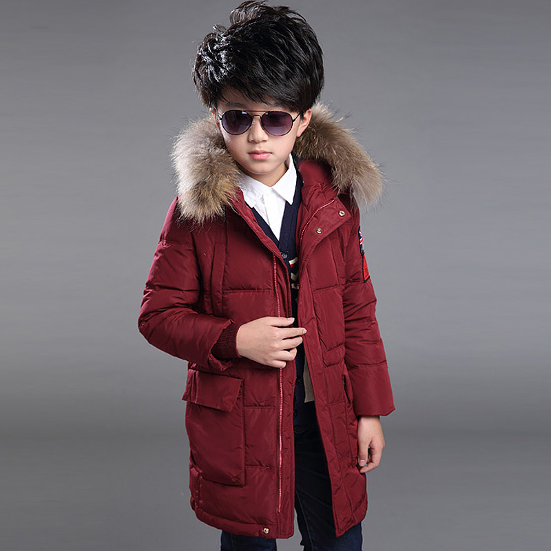 Boys ultra wadded winter jacket medium-long thickening warm down coat kids cotton-padded hooded hat with fur outerwear 110-150cm 2015 new mori girl medium long thickening with a hood color block decoration cotton padded jacket wadded jacket