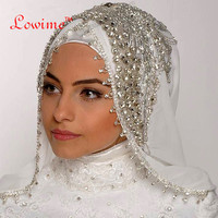Luxury Handy Sewing Beads Crystal Veil Custom Made Color And Length Wide Muslim Hijab One Layer