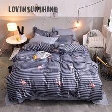 LOVINSUNSHINE Bed Linen Set Duvet Cover King Size  Flamingo Black White Stripe Comforter Quilt AB#41