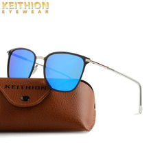 KEITHION Brand Mens Womens Vintage Square Sunglasses Polarized UV400 Mirrored Slim Fit Frame Eyewear