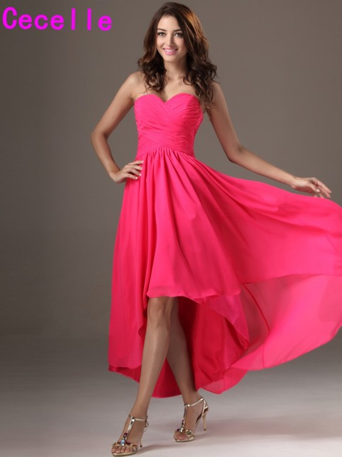 376bcc6d9e98 2019 Simple Long High Low Fuchsia Beach Bridesmaid Dresses For Cheap Ruched  Chiffon Sweetheart Wedding Guests Dresses New Sale