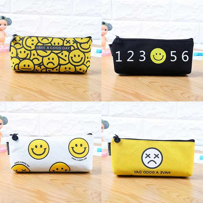Lovely emoji pencil case for girls Kawaii canvas smile pen bags storage pouch Stationery estojo school supplies escolar material