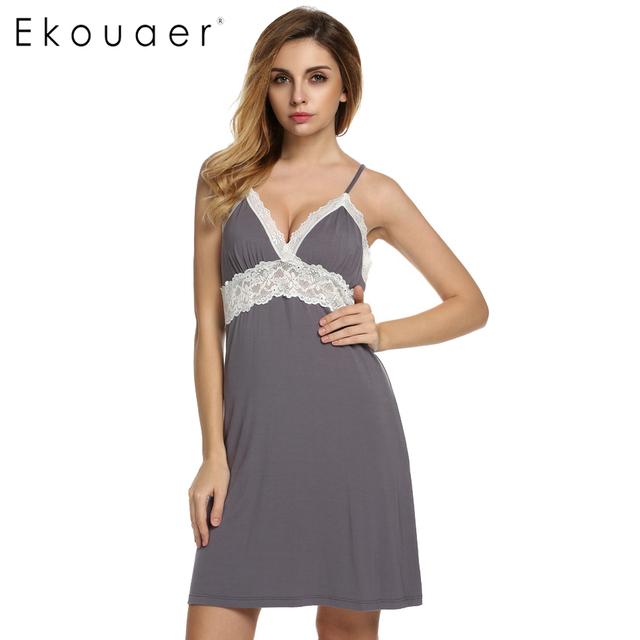 Ekouaer Brand Spring Autumn Nightgown Women Sexy Spaghetti Strap Lace Patchwork Lingerie Dress Sleepwear Sleepshirts Size S-XL