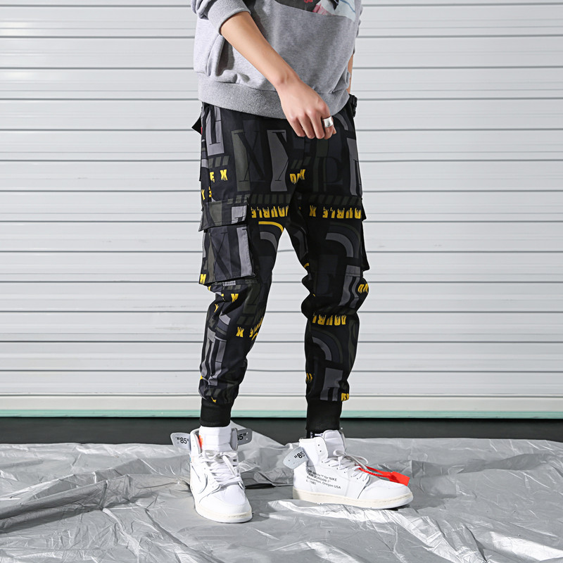 Cool Man Jogger Hip Hop Side Pockets Loose Style Men's Haroun pants Fashion 2019 High Street Casual Pants Mens Streetwear Pants(China)