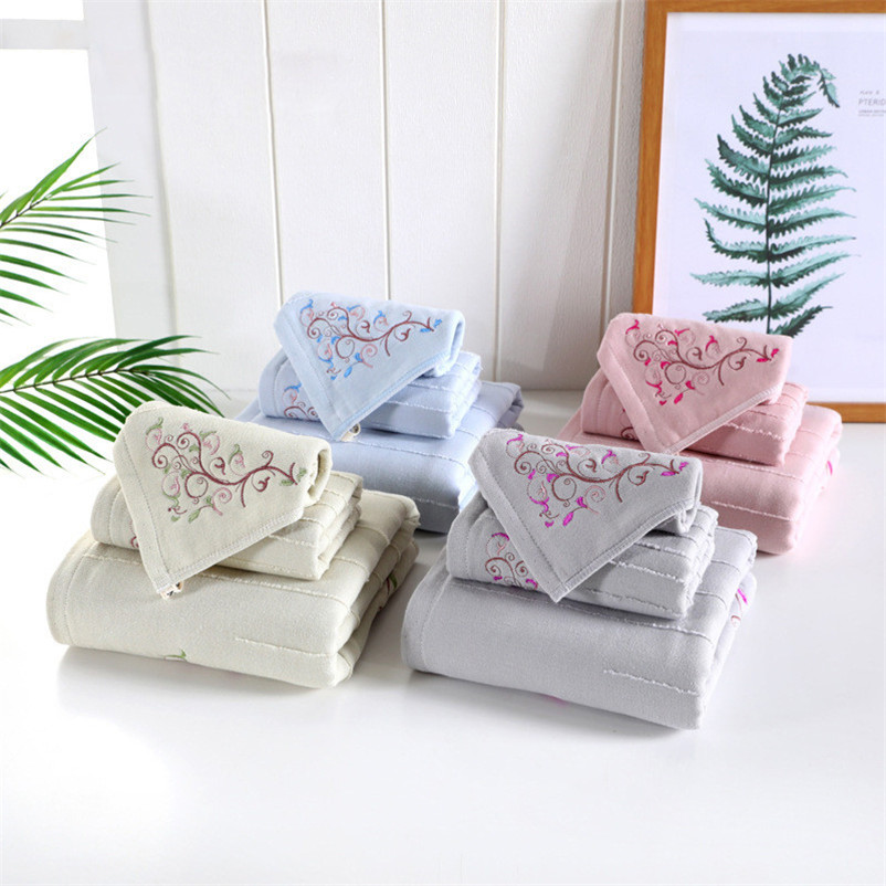 3pcs/set Elegant Embroidered Towel Set Solid Face Hand Hair Bath Towel Quick Dry Beach Towels Bathroom Washclothes for Adults