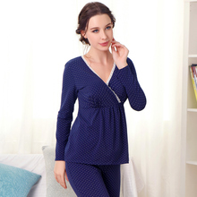Winter and Autumn Women Blue Full Sleeve Pregnant Clothes Maternity Sleepwear Cotton Maternal Nursing Breastfeeding Pajamas