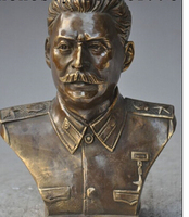Copper Brass CHINESE crafts decoration Asian 6Chinese Bronze famous marshal Joseph Stalin Stalinist Head Bust Statue
