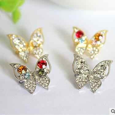 小さなかわいい動物蝶ブローチ付きクリスタルカラフルなと甘いブローチ衣料用と布アクセサリー