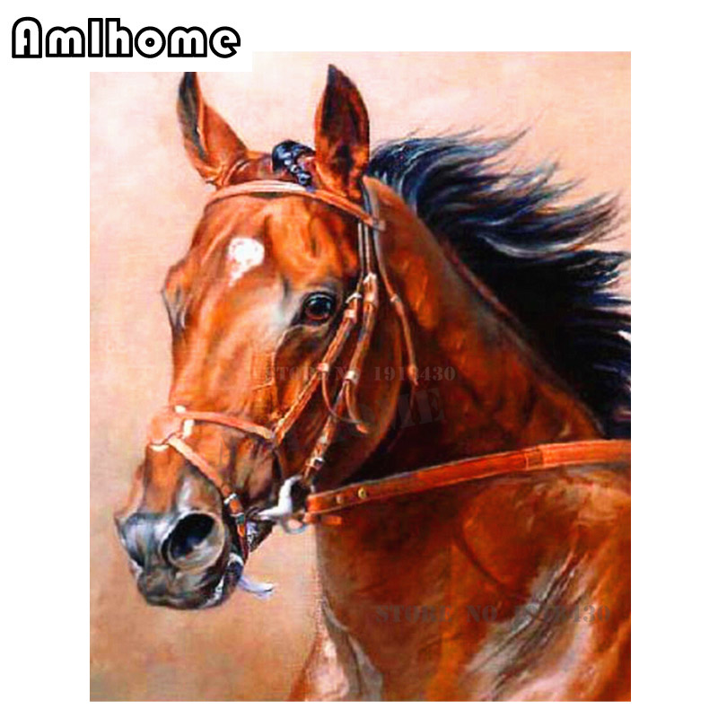 AMLHOME NEW 5D DIY Diamond Painting Horse Crystal Diamond Painting Cross Stitch Arts Crafts Needlework Home Decorative HC1274