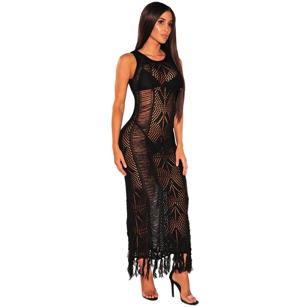 Sexy Beach Cover Up Cardigan Knitted Crochet Hollow Long Sun Dress With Tassel Robe de Plage Beach Dresses Bandage Tunic Sarong in Cover Ups from Sports Entertainment