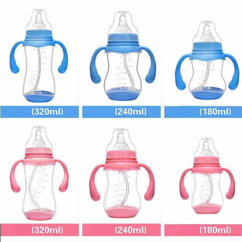 240 ml רחב פה תינוק תינוקות ילדי אוטומטית פיפטה קש מוצץ פטמת חלב האכלת בקבוק/החלקה ידית & כוס כיסוי