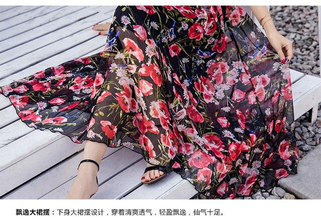 Summer women Floral Print long Chiffon Dress Elegant Vestidos flare sleeves cultivating Casual Bohemian beach dress XXXXL 18005 2