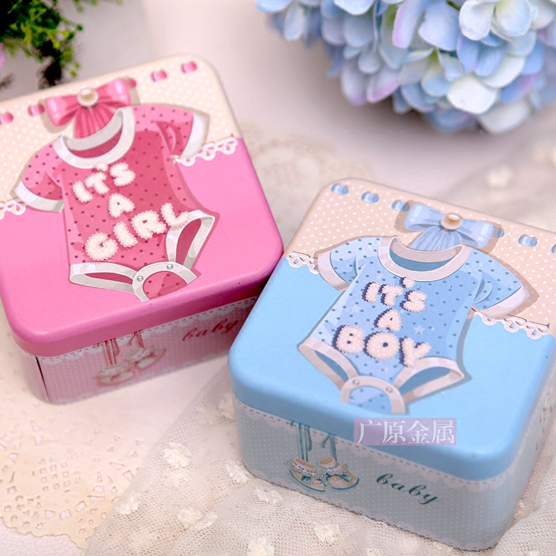 10 PCS The tinplate Christening Baby Shower favors,Birthday Party Box,Boy and Girl Gift Box and wedding candy box