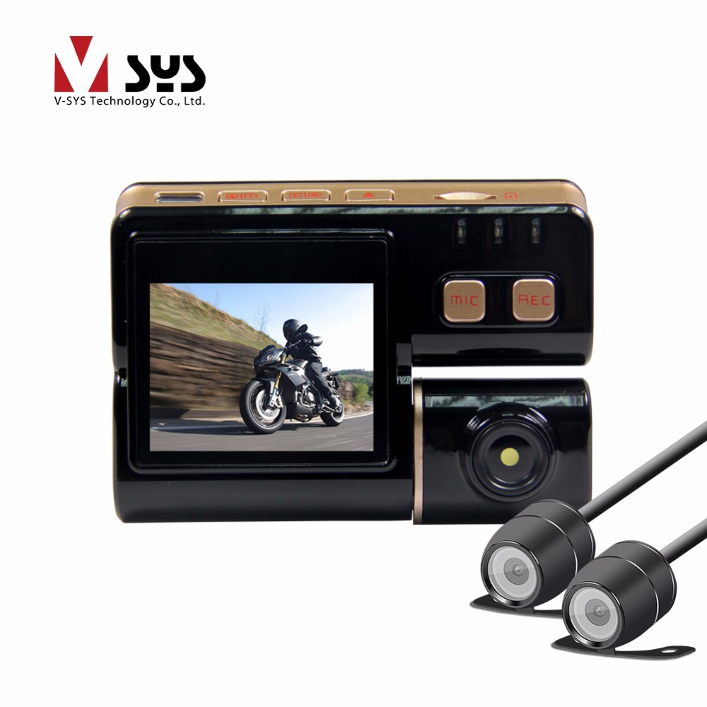 Vsys C3 Waterproof Camera Motorcycle Dual Lens Dash Cam DVR with Mini Cameras video registrator for Motorbike Sports Race