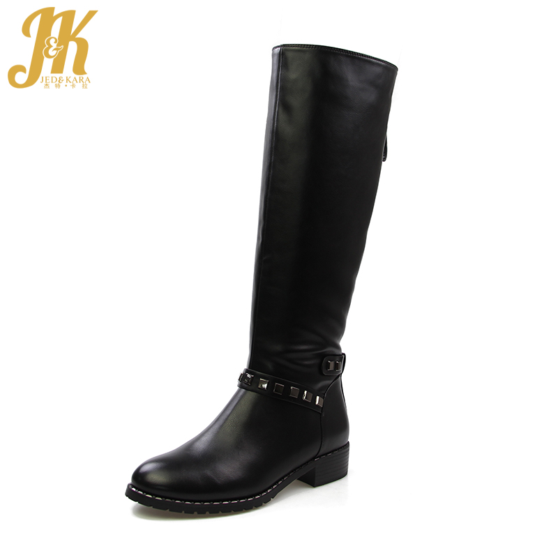 J&K 2017 Warm 650g Thick Plush Motorcycle Knee Boots for Women Winter Shoes Chunky Heels Rivet Fashion Boots Zipper High Quality
