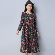 P Ammy Cotton   Linen Floral Print Maxi Long Dress 2018 Spring Summer Plus  Size voguees dresses Long Sleeve O-Neck Dress 31c13ef98b03