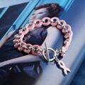 Das Mulheres dos homens de moda chapeamento de ouro pulseira de corrente de prata pulseira de presente de jóias de lã cor de rosa com fita vermelha