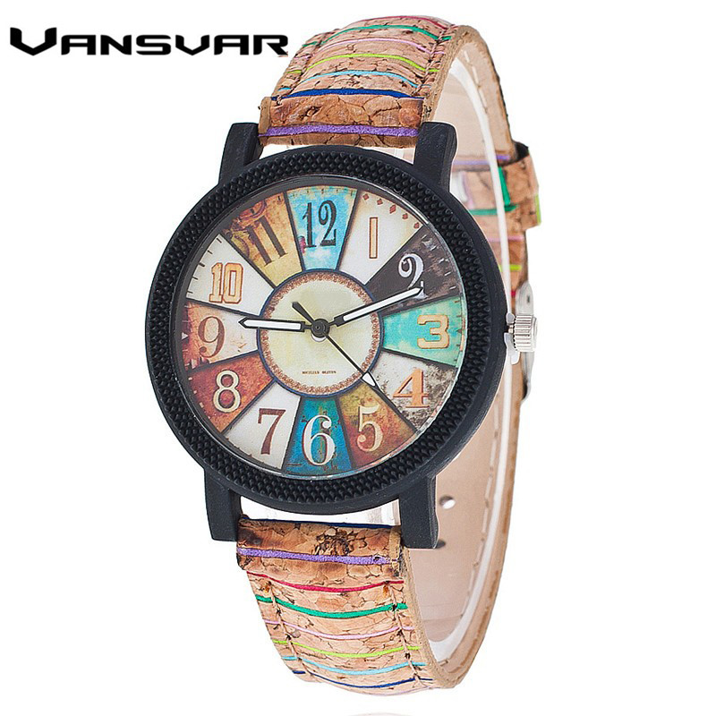 Vansvar Brand Fashion Casual Relogio Feminino Vintage Leather Women Quartz Wrist Watch Gift Clock Drop Shipping 1903(China)
