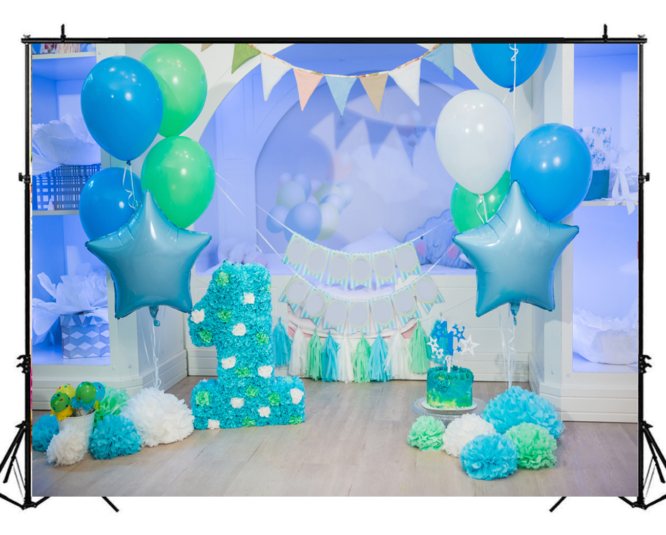 Blue Gold Baby Boy 1st Birthday Party Decorations Cake Smash Kit Photo Backdrop