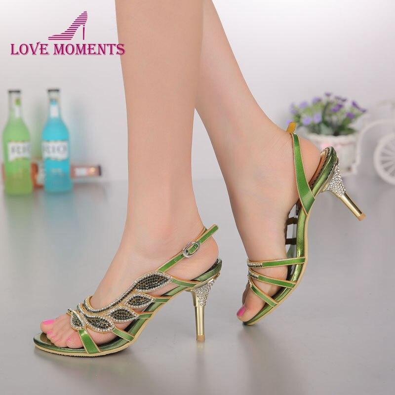 Rhinestone Wedding Heels: Aliexpress.com : Buy Green Rhinestone Women Sandals