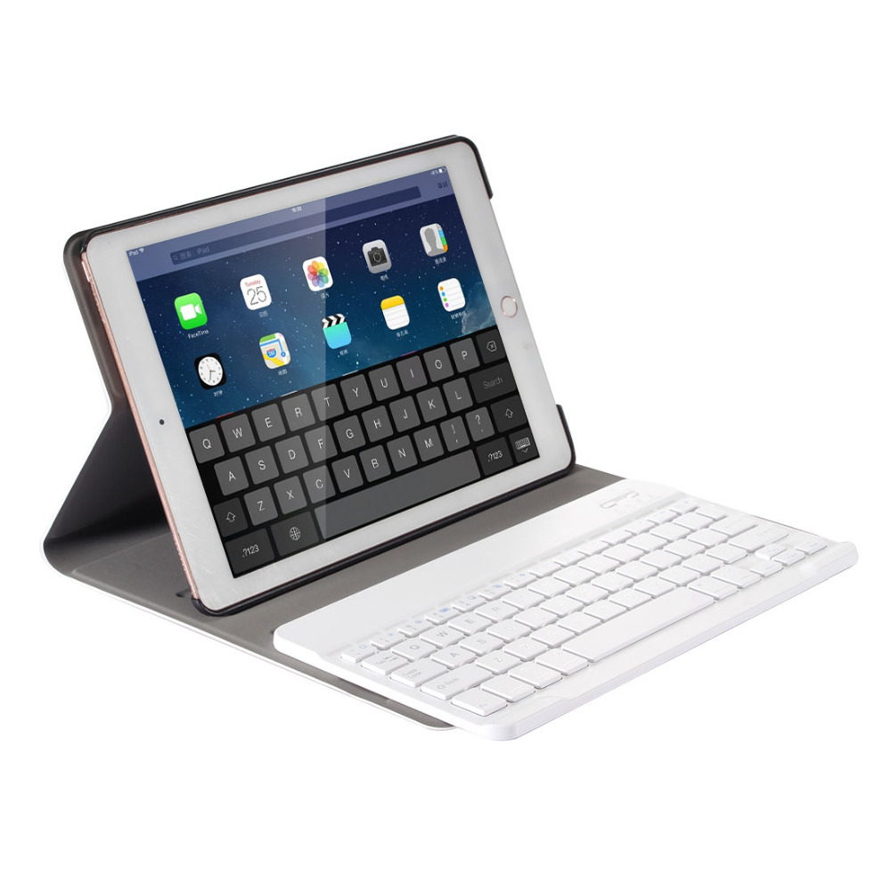 Russian/Hebrew/Spanish Removable Wireless Bluetooth Keyboard Stand PU Leather Case For Apple iPad 9.7 2017 /Pro 9.7 /Air /Air2 removable wireless bluetooth russian hebrew spanish keyboard stand pu leather case for samsung galaxy tab a 9 7 t555 t551 t550