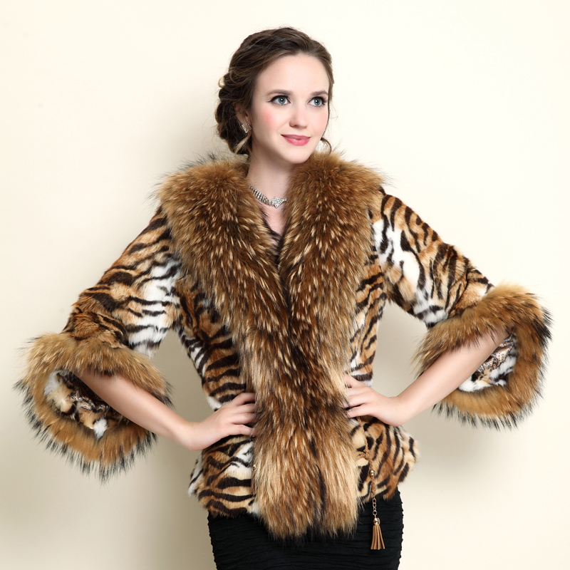 REROYFU Natural Rabbit Fur Waistcoat Real Fur Cape Tiger Leopard ...