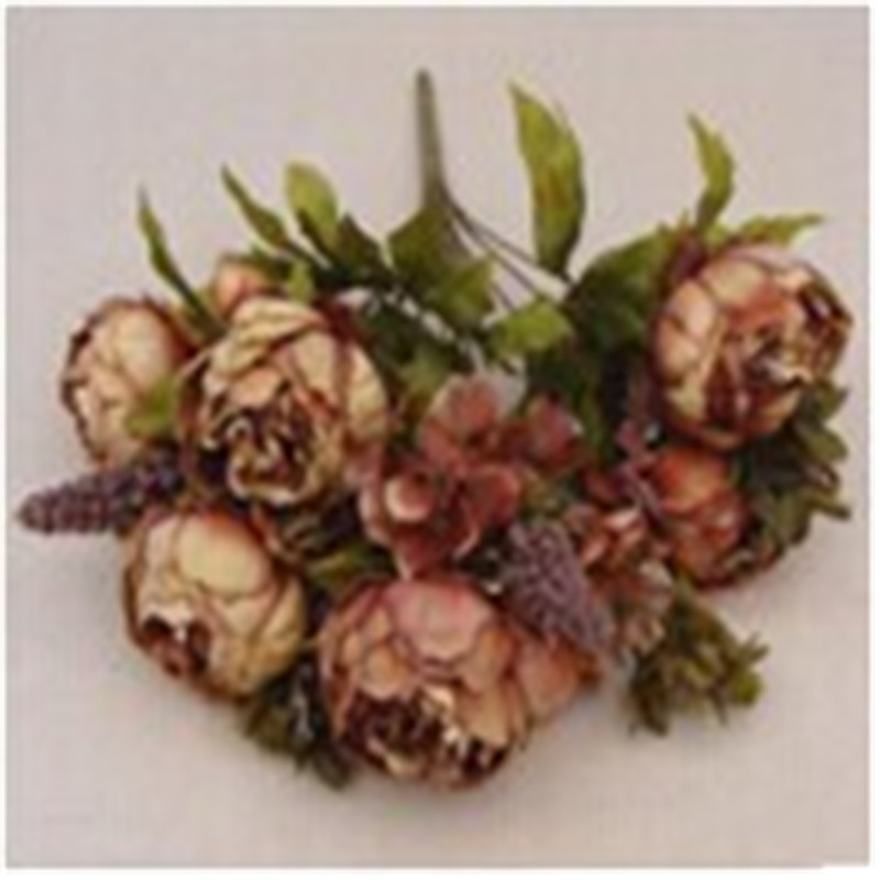 Artificial Silk Peony Vintage Flowers Bouquet Home Wedding Party Bridal Floral Bouquet DIY Garden Decor Fashion Romantic
