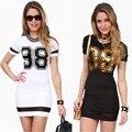 S-XXXL 2016 Летний Новый Повседневная Мода Sexy Bodycon Тонкий Оболочка 98 Отпечатано Женщины Dress Mini Dress Плюс Размер Черный Белый