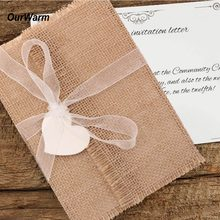 OurWarm 50Pcs Rustic Vintage Wedding Invitations Greeting Card Burlap Envelope Postcard Wedding Favors Souvenir Birth Decoration(China)