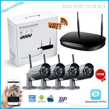 P2P WIF NVR KIT,720P 4ch HD Wi-fi NVR package Outside IR Evening Imaginative and prescient IP Digital camera wifi Digital camera package Residence Safety System Surveillance