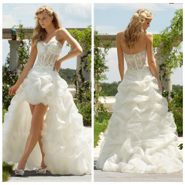 Hi Lo Wedding Gowns: New Fashion Hi Lo Wedding Dresses 2016 Beading Sweetheart