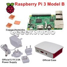 Raspberry Pi 3 Model B with Official 5.1V 2.5A Power Supply + Official ABS Enclosure Case Box Shell + Copper Heatsinks