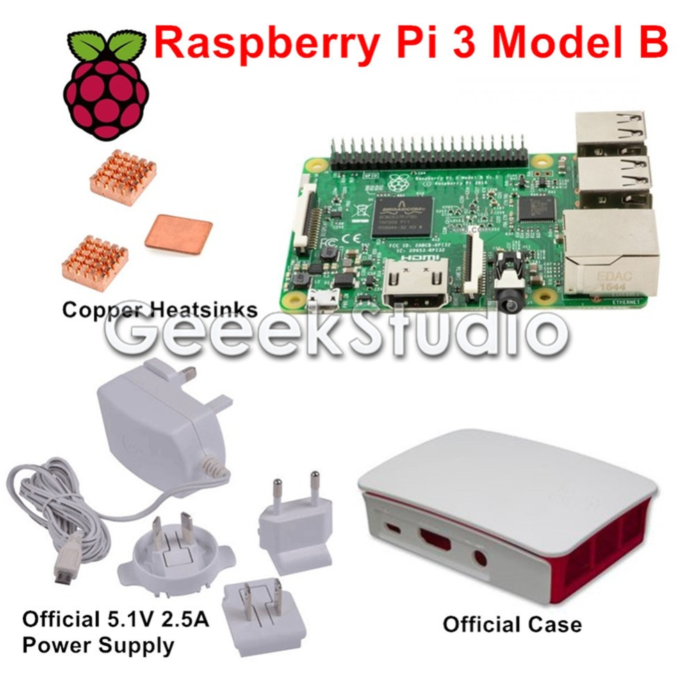 ФОТО Raspberry Pi 3 Model B with Official 5.1V 2.5A Power Supply + Official ABS Enclosure Case Box Shell + Copper Heatsinks