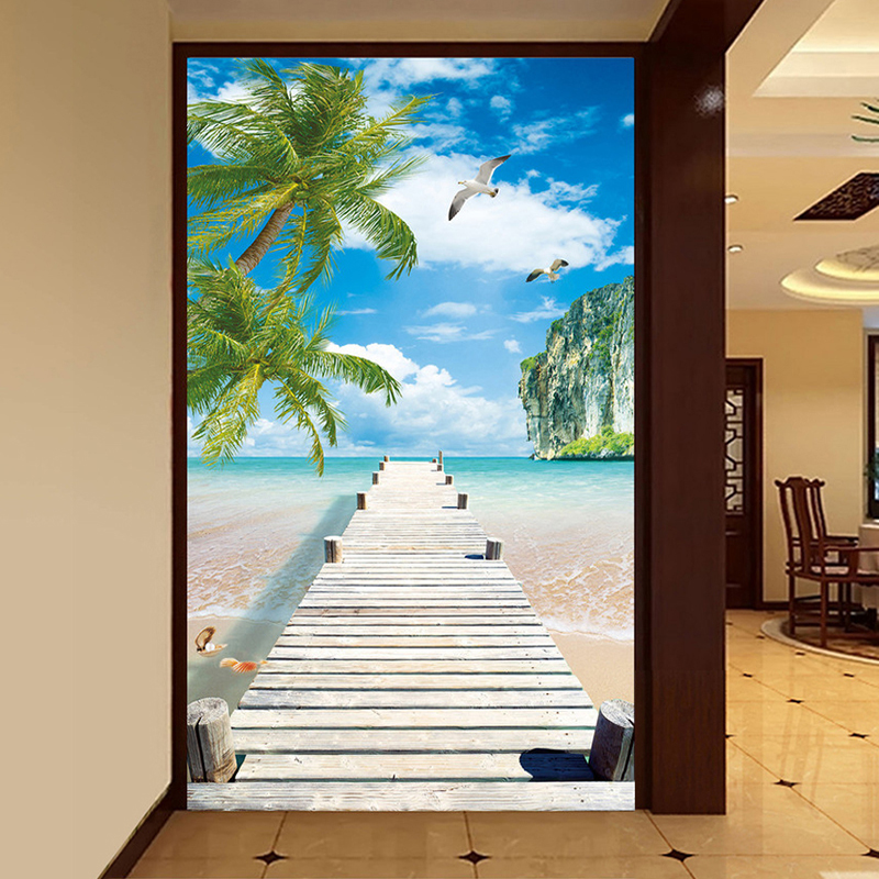 Custom 3D Photo Wallpaper Seagull Coconut Tree View Living Room Entrance Expansion Space Background Poster Wall Murals Wallpaper seattle mariners felix hernandez photo photo sport poster
