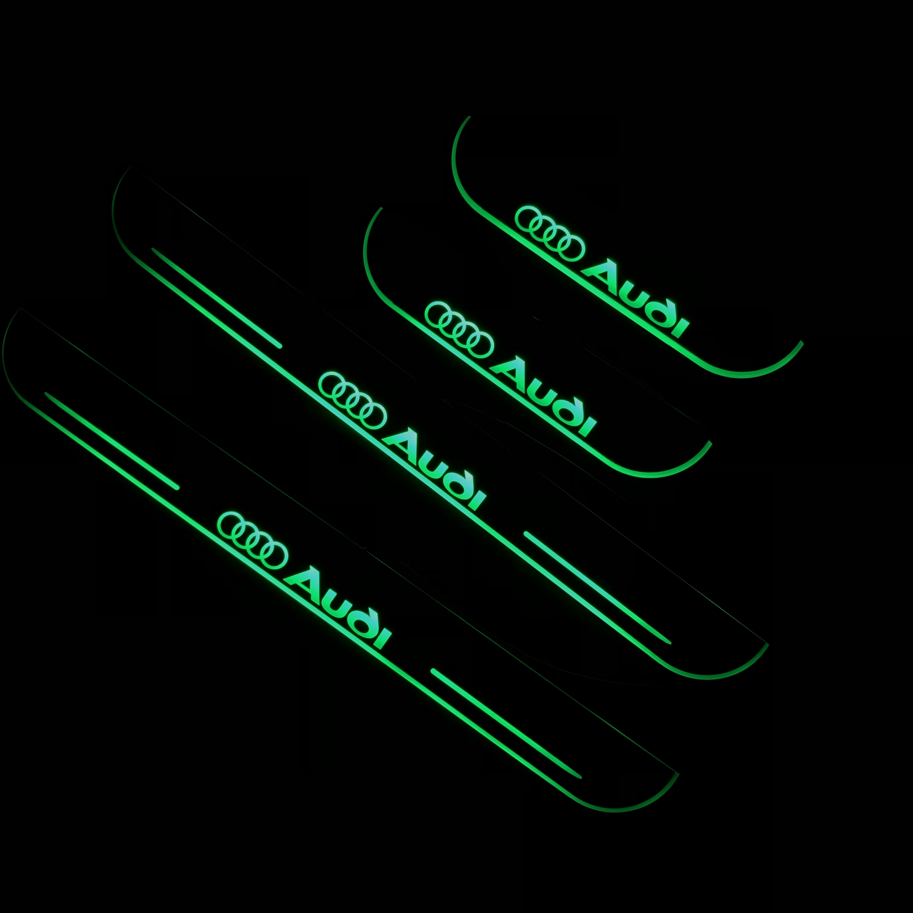 RQXR led moving door scuff for Audi Q7 dynamic door sill plate flat lining overlay flow