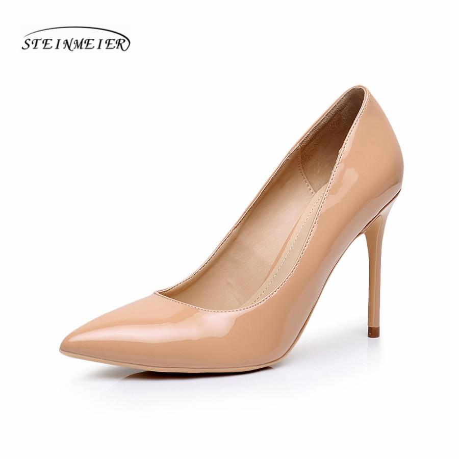 Для женщин пикантная обувь на высоком каблуке качества тонкий каблук с острым носком 10 см из лакированной кожи красное серебро больших разм...