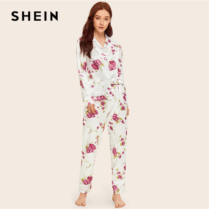SHEIN Floral Print Satin Pajama Set Women Clothes 2019 Spring Autumn Button Long Sets Pocket Long Sleeve Pajama Sets NightWear