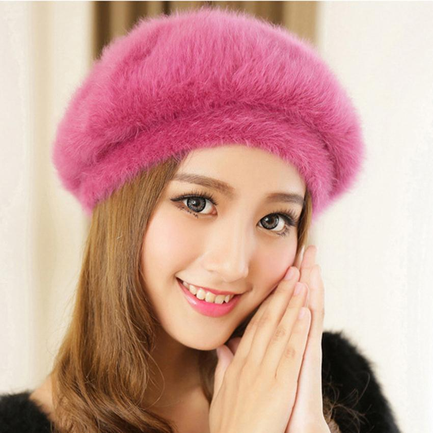 New Stylish Beanie Winter Hat For Women Faux Fur Hat Korean Style Candy  Color Beret Hat Fashion Female Cap Gorros Bonnet Femme 19e31dc38d7