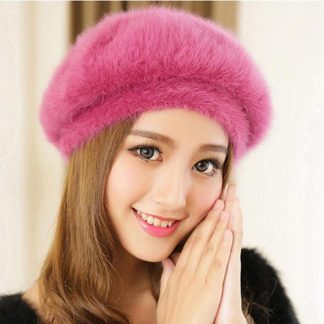 New Stylish Beanie Winter Hat For Women Faux Fur Hat Korean Style Candy  Color Beret Hat Fashion Female Cap Gorros Bonnet Femme 2ab6318f902