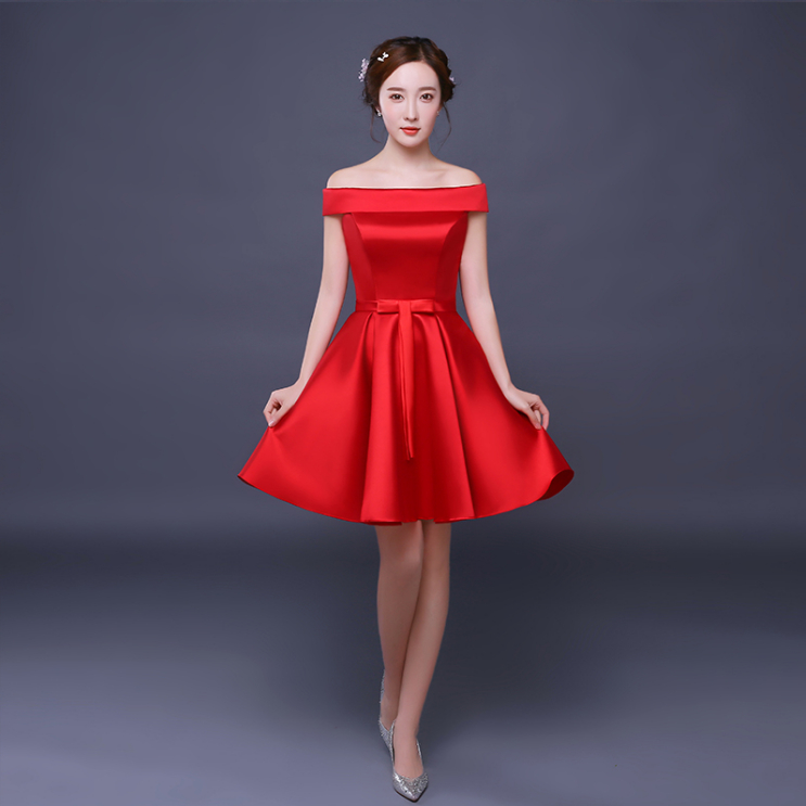 Promoción de Red Bridemaids Short Dress - Compra Red Bridemaids ...