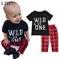 LZH Bebê Meninos Roupas Letras de Impressão De Algodão T-shirt + Calças 2 pc Outfit Suit 2017 Verão Crianças Meninos roupas Conjuntos de Roupas Crianças