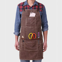Vintage Carpenter Apron Oil Wax Waterproof Canvas Apron Genuine Leather Straps Unisex Gardener/Butcher Working Aprons BBQ Wear