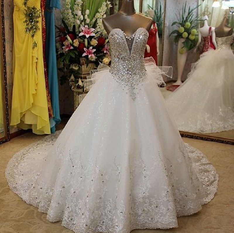 Nigerian Wedding African Beads Jewelry Crystal Luxury Dresses Sweetheart Lace Gown With Beading