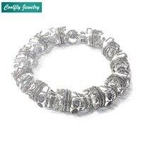 Thomas Skulls King Beads Bracelets For Women And Men Viking Soldier 925 Sterling Silver Rebel Skeleton