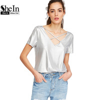 SheIn Woman T Shirts Woman S Fashion 2017 Summer T Shirt Women Silver Crisscross Dual V