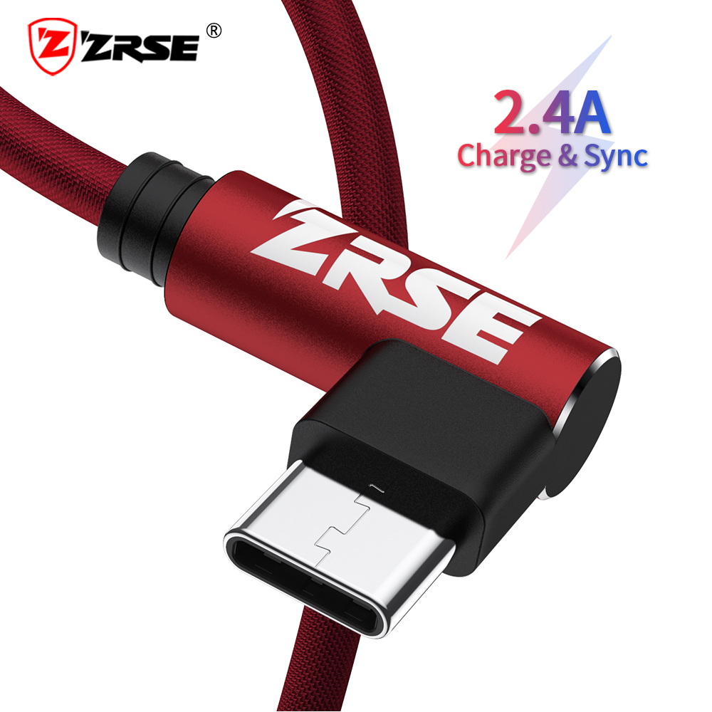 ZRSE 90 Degree USB Type C Cable For Samsung a50 s10 s9 3m 2m 1m USB C Cable Data Sync