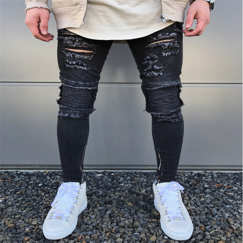 H.A.Sueno 2018 Slim Fit Ripped Jeans Men Street Mens Distressed Denim Joggers Knee Holes Washed Destroyed Jeans Plus Size jeans