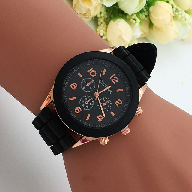 10 color Brand Geneva Watch Casual Quartz Watch men women silicone strap Fashion