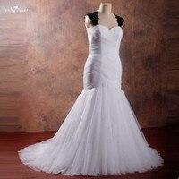 RSW1061 Black And White Wedding Dress Plus Size Mermaid Black Lace Keyhole Back Lace Up Wedding Gown